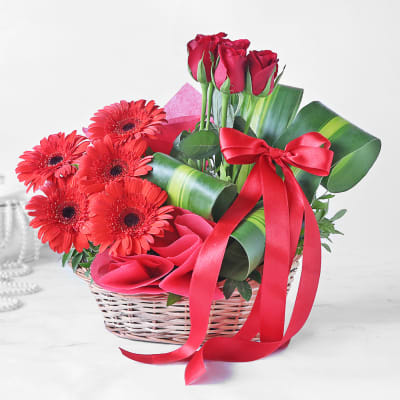 Basket of Red Roses & Gerberas