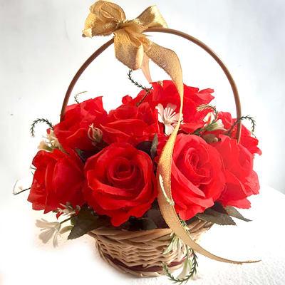 BASKET OF RED SILK ROSES