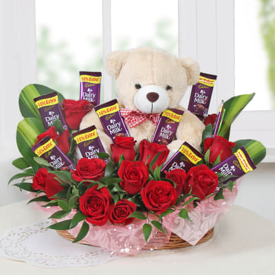 Basket Of Roses With Chocolate Teddy