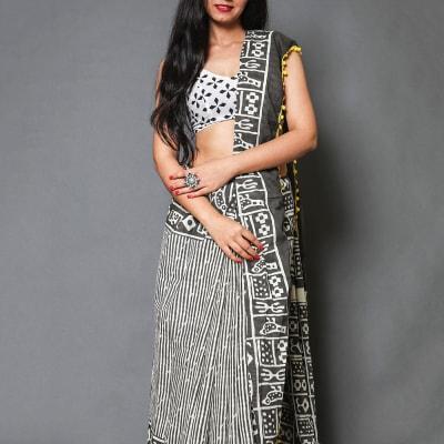 Batik Printed Cotton Saree