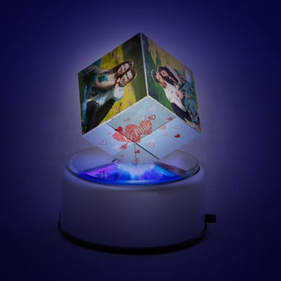 Be Mine Personalized Rotating Crystal Cube with LED