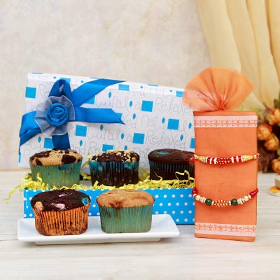 Bead rakhi set with 5 pcs sugarfree muffins giftsend rakhi gifts bead rakhi set with 5 pcs sugarfree muffins negle Image collections