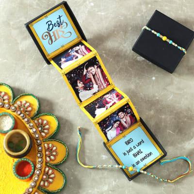 Beads Rakhi with Personalized Photo Pop-up Box