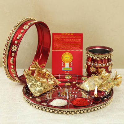 Beads Work Puja Thali, Karwa, Chalni with Puja Needs