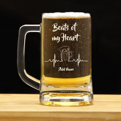 Beats of My Heart Personalized Beer Mug