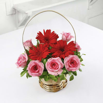 Beautiful Basket Of Red Gerberas Pink Roses