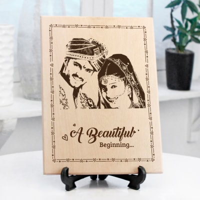 Beautiful Beginning Personalized Wooden Photo Frame