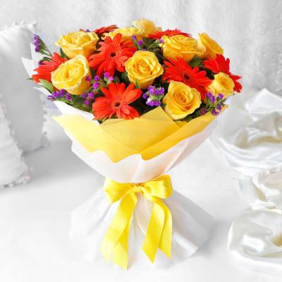 Beautiful Bouquet of Yellow Roses & Orange Gerberas
