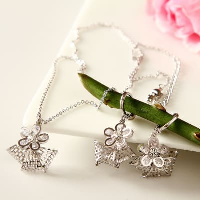 Beautiful Cutwork and Crystal Studded Pendent Set