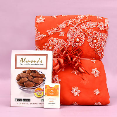 Beautiful Georgette Saree with Perfume & Pack of Almonds