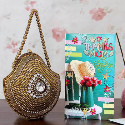 Gifts for mother in law gift ideas for indian mother in law igp beautiful gold cz stone clutch with mom greeting card negle Images