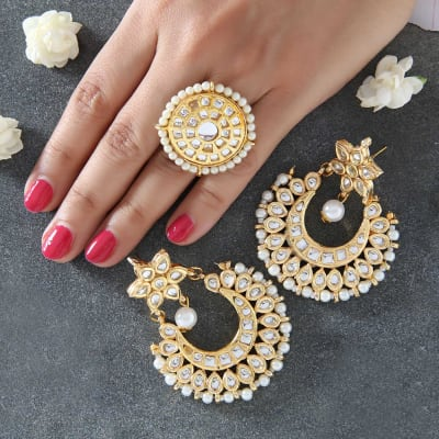Beautiful Kundan and Pearl Work Earrings with Ring