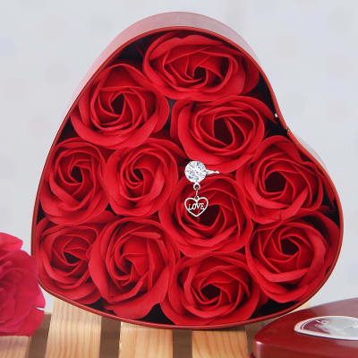 Beautiful Love Ring With Artificial Roses In Heart Shaped Box