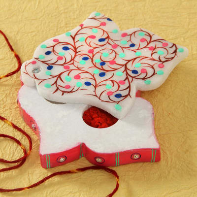 Beautiful Marble Roli Chawal Container with Moli