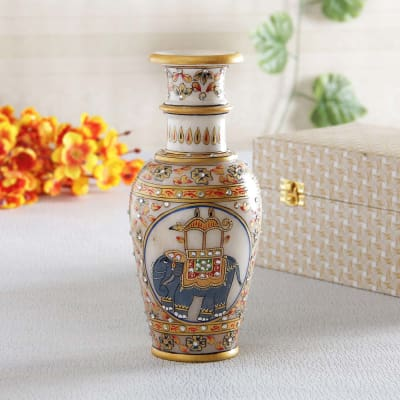 Beautiful Meenakari & Kundan Work Marble Vase