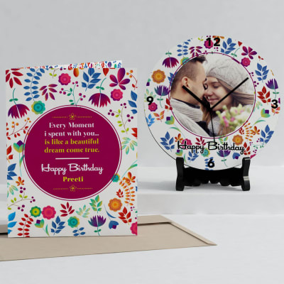 Beautiful Moments Personalized Birthday Clock & Card Combo