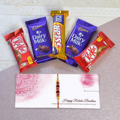Beautiful Rakhi with Five Assorted Chocolate Bars