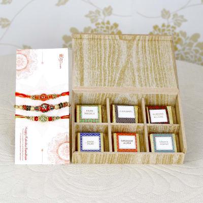 Beautiful Set of 3 Rakhis with Assorted Homemade Chocolates in Box