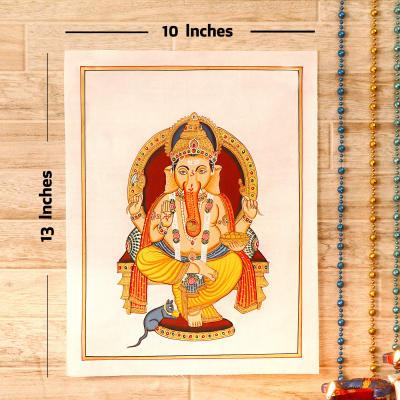 Beautiful Silk Painting of Divine Chaturbhuj Lord Ganesha