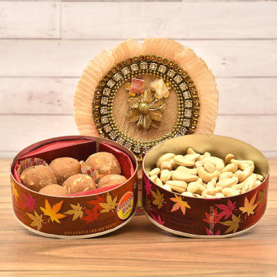 Beautiful Tikka Thali with Panjiri Laddoo and Plain Cashew in CD Box