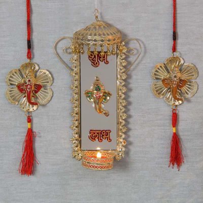 Buy diwali wall hangings wall decor online igp beautiful wall diya with ganesha flower shaped hanging ppazfo