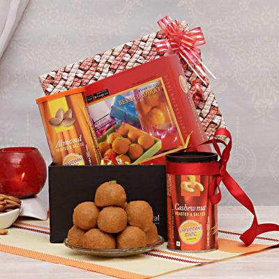 Anniversary gifts for elderly couples gift ideas for older couples besan laddoos with cashews and almonds in a gift box negle Gallery