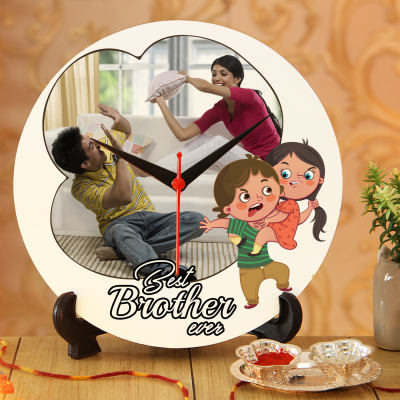 Best Brother Ever Personalized Clock with Roli Chawal