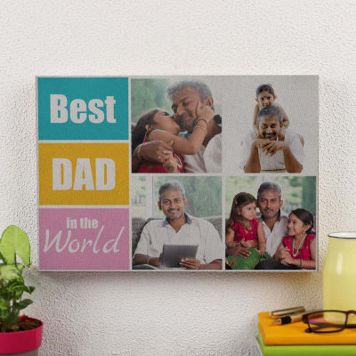 Best Dad in the World Personalized A3 Canvas