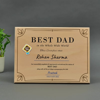 Best Dad Personalized Wooden Certificate Stand