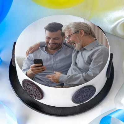Best Dad & Son Duo Delectable Photo Cake (Half Kg)