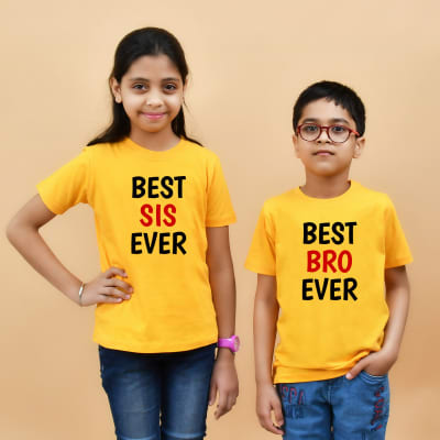 Best Ever Bro and Sis Yellow T-Shirt Combo