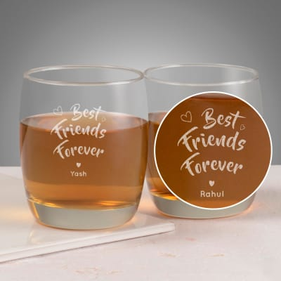 Best Friends Forever Personalized Set Of Two Whiskey Gles