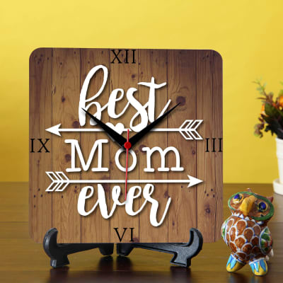 Best Mom Table Clock With Blue Pottery Showpiece