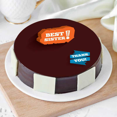 Best Sister Thank You Cake (Eggless) (Half Kg)