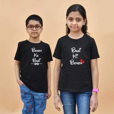 Bhai Behen Black T-Shirt Combo