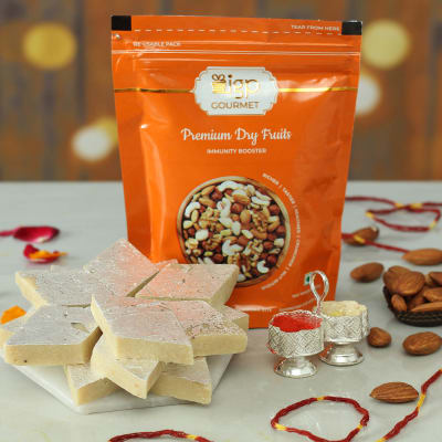 Bhai Dooj Tikka with Premium Dry Fruits and Sweets