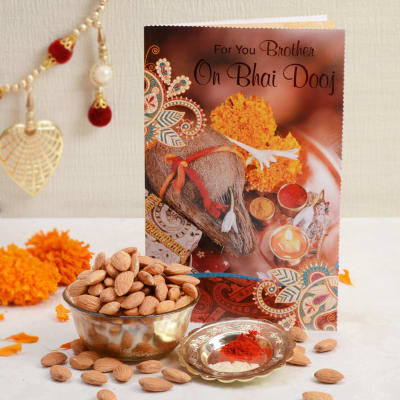 Bhaidooj Card With 200 Gms Almond & Roli Chawal