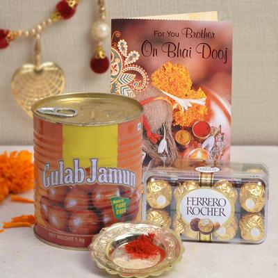 Bhaidooj Card With Gulab Jamun 1 Kg & Roli Chawal With Ferrero Rocher