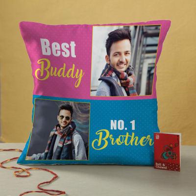 Bhaidooj Hamper with Personalized Cushion and Moli