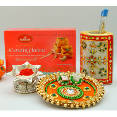 Bhaidooj Tikka thali 4 inches with Karachi Halwa 250 gms and Marble Pen Stand 5 inches