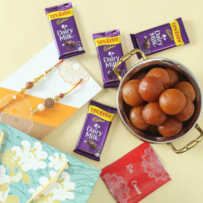 Bhaiya Bhabhi Beads Rakhi with Gulab Jamun & Cadbury Chocolates