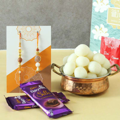 Bhaiya Bhabhi Beads Rakhi with Rasgulla & Cadbury Chocolates