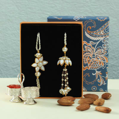 Bhaiya-Bhabhi Rakhi Hamper with Dry Fruits and Silver Plated Roli-Chawal Containers