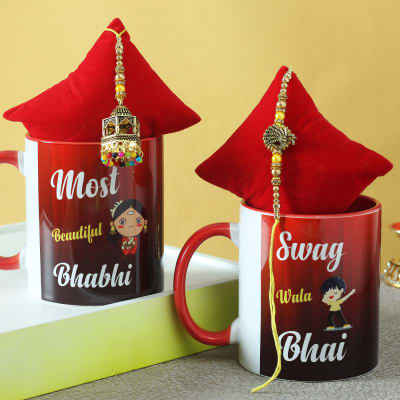 Bhaiya Bhabhi Rakhi & Personalized Mugs (Set of 2)