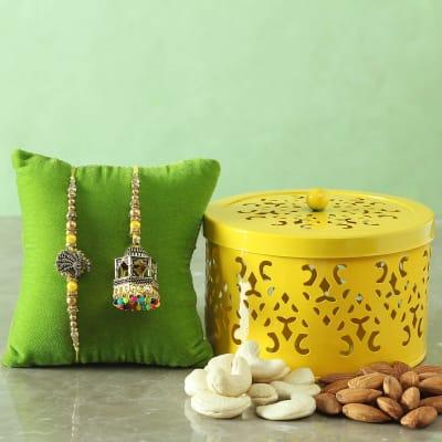 Bhaiya Bhabhi Rakhi with Dry Fruits in Designer Container