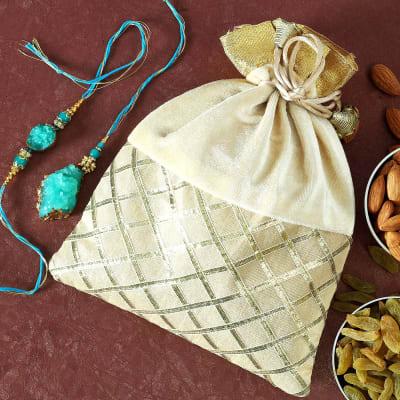 Bhaiya Bhabhi Stone Rakhi with Dry Fruits Potli