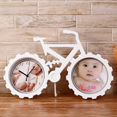 Bicycle Shaped Table Clock-cum-Photo Frame
