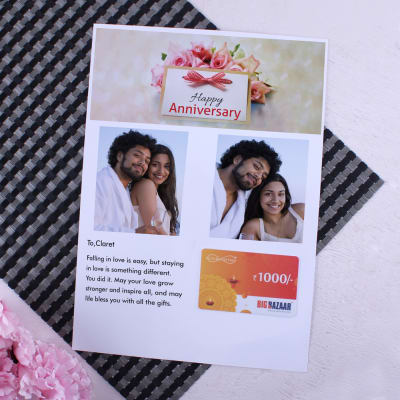 Big Bazaar Gift Card with Personalized Anniversary Letter 1000