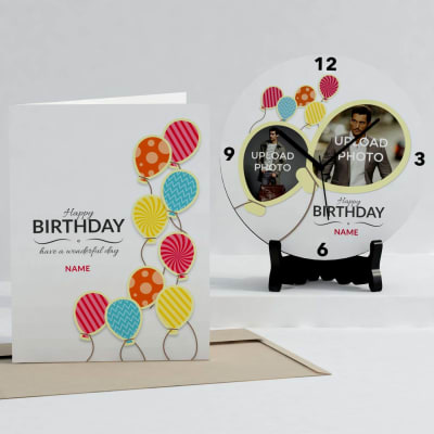 Birthday Balloons Personalized Clock & Card combo