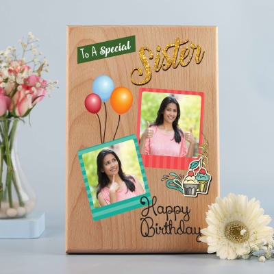 Birthday Personalized Wooden Photo Frame for Sister
